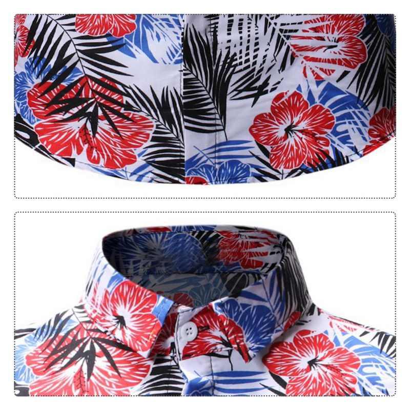Laamei Pria Musim Panas Kemeja Hawaii 2020 Lengan Pendek Plus Ukuran Floral Kemeja Kasual Liburan Liburan Pakaian Camisas