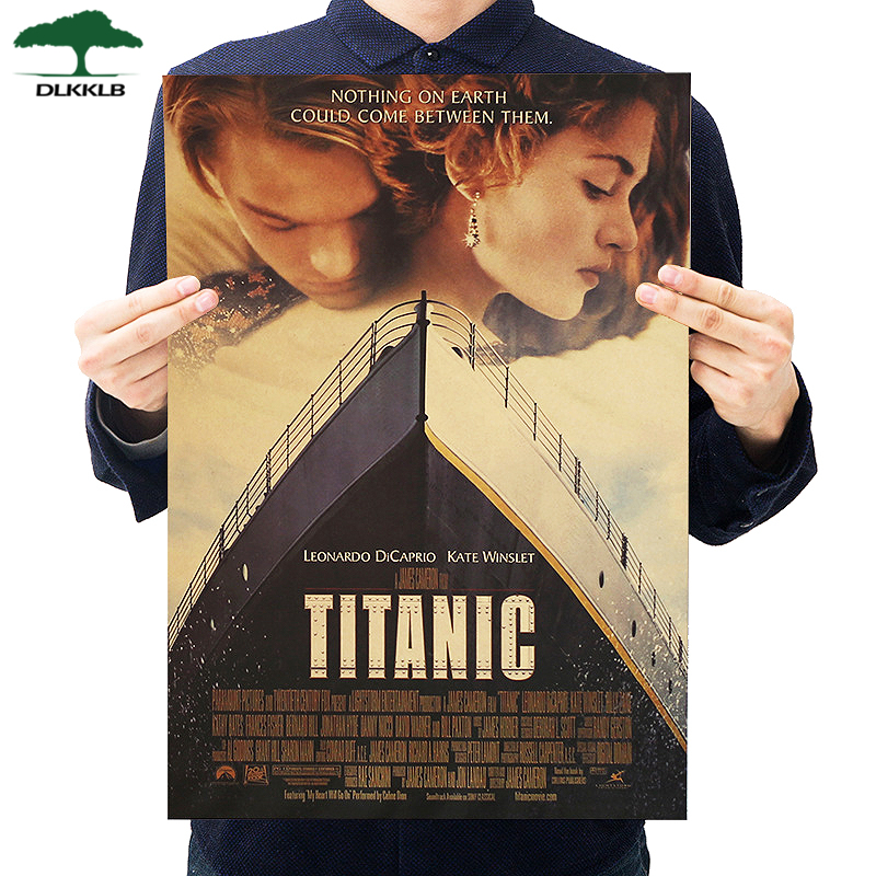 Dlkklb Titanic Classic Movie Poster Kraft Paper Bar Cafe Poster Retro Home Decorative Painting Wall Sticker 50.5x35cm