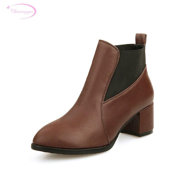 Chainingyee/пикантные ботильоны с острым носком в старинном стиле; модные эластичные женские мотоциклетные ботинки на среднем каблуке; Цвет черный, коричневый