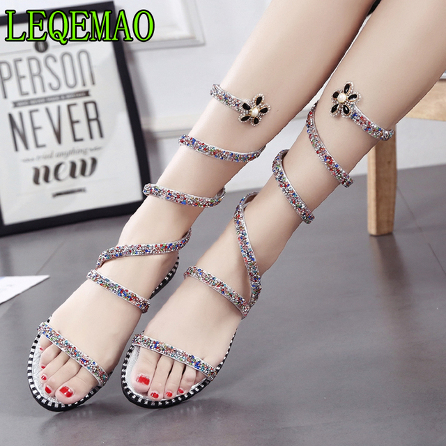 ee9e8d9e93 Gladiator Casual Crystal Sandals Snake Winding Rhinestones Toe Women Shoes  2019 Female Summer Thick With Straps