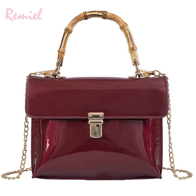 Luxury Handbag 2019 Fashion New High Quality Mirror Patent Leather Women's Designer Handbag Lock Chain Shoulder Messenger bags