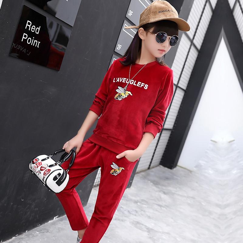 2017  Autumn girls Clothing Set Kids Sports Suit Children Tracksuit girls Long shirt + pants Sweatshirt Casual   New Costume