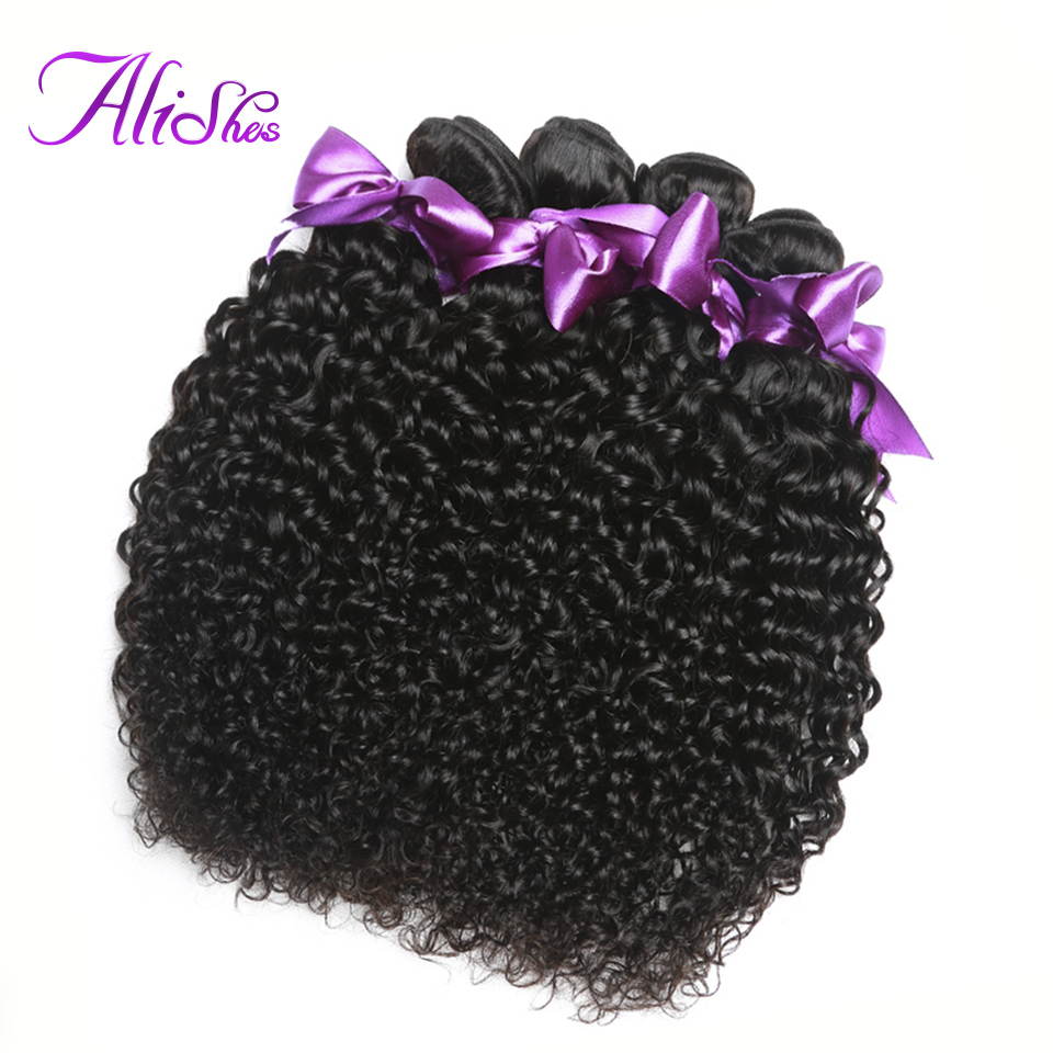 Alishes Hair 4PCS/LOT Brazilian Curly Hair Bundles 100% Human Hair Natural Color Remy Hair Bundles 8-28inch Mixed Free Shipping