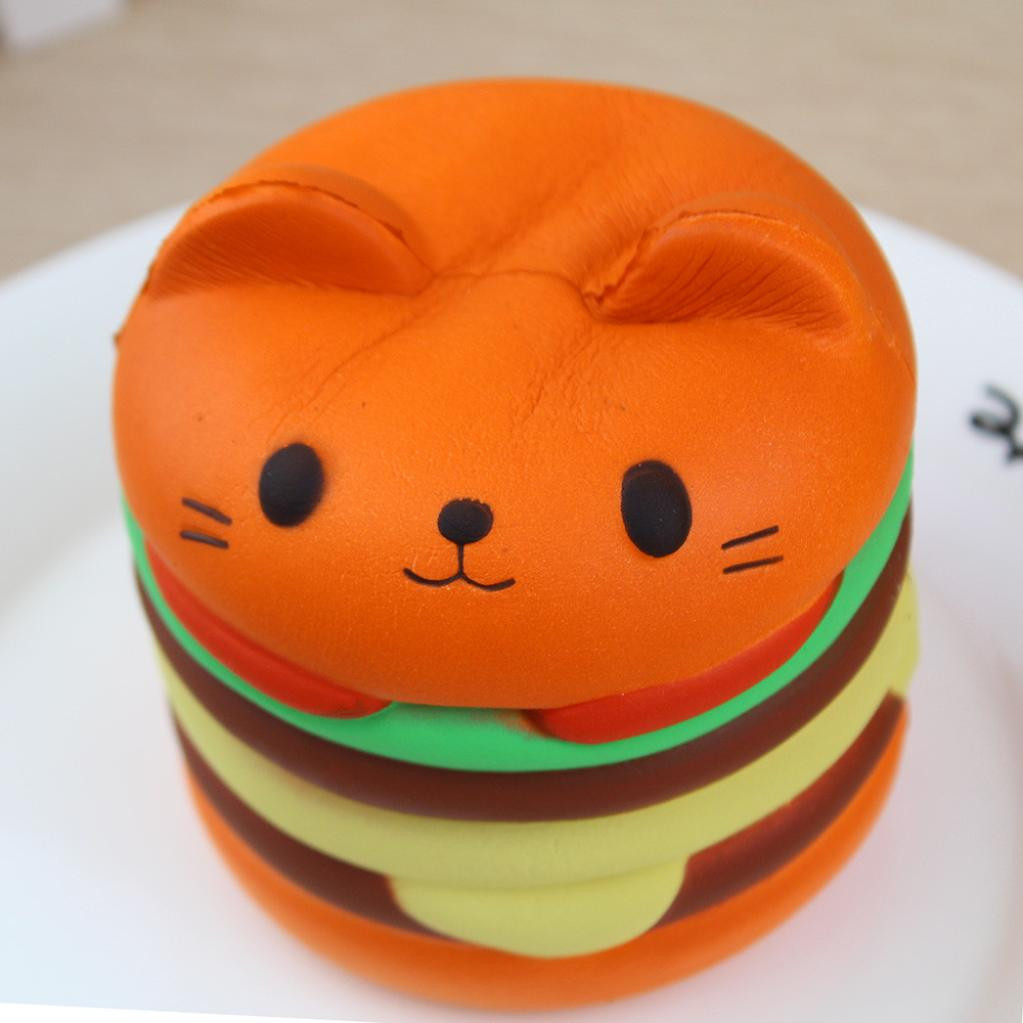 Jumbo Cartoon Cat Squishy Toys For Children Slow Rising Scented Luky Cat Hamburger Squishy Gift Kawaii Squishies Stress Reliever