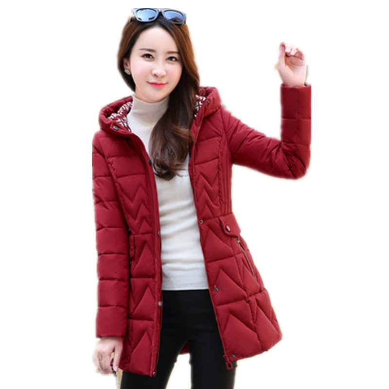 Parkas Nouveau Casaco My273 Kmetram Veste Capuchon Mince Feminino Plus Femmes Épais Manteau Taille Red Dames Femelle D'hiver Moyen À 2018 Long Rouge La Hq15qax