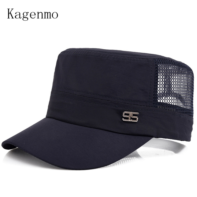 4d96ddeb4b9 Kagenmo Male military hat mesh breathable comfortable cap sun hats leisure  cool man army caps mesh truck cap