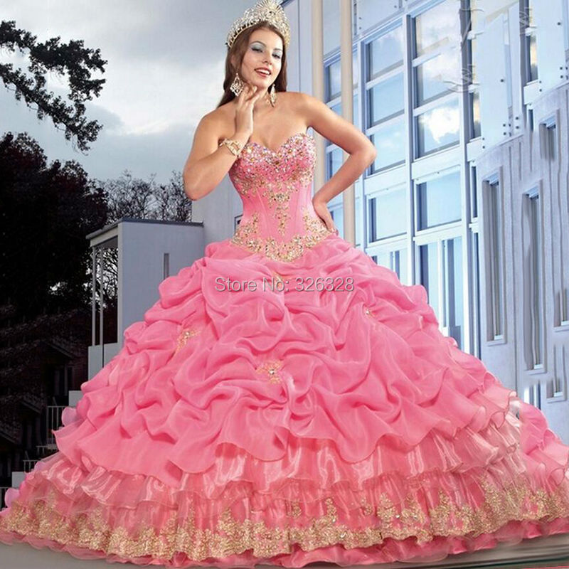 High Quality Pink and Gold Quinceanera Dresses-Buy Cheap Pink and ...