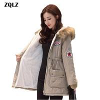 Zqlz Hooded Warm Winter Coat Women 2018 Slim Plus Size Thick Jacket Black Long Cotton Parkas Mujer Letter Femme Casaco Overcoat