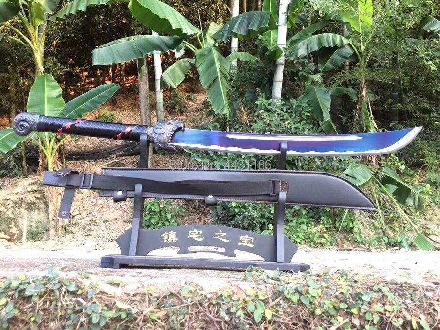 Analytisch Chinese Kungfu Slagzwaard Zwaard Katana Wushu Da Dao Scherpe Hoge Mangaan Staal Blauw Blade W/tijger Mes