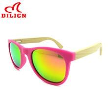 Hot Rays Children Real Bamboo Wood Kids Sunglasses Boys Girls Mirror Polarized Sun Glasses Child UV400 Fashionable Sunglasses