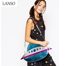 Women UFO Modeling Shoulders Messenger Bag The WhitePepper Personality Unique Shape Submarine Rocket Envelope Clutch Lady Purse