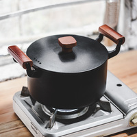 Japanese cast iron wood handle cooker multi functional kitchen household non stick flat bottom frying pan pot kitchen househole