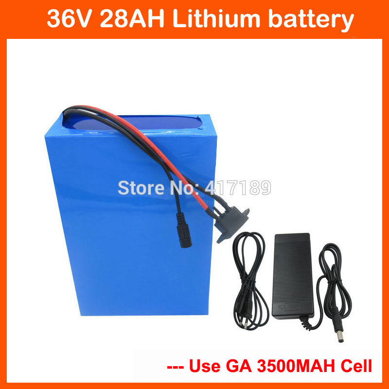 1500W 36V 28AH Electric Bike Battery 36 V Lithium ion battery Pack NCR18650GA cell With 50A BMS 3A charger Free customs fee image