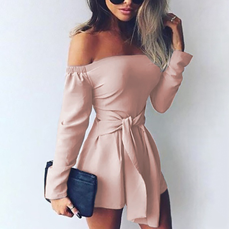 231f55e056a7 Detail Feedback Questions about Rompers Womens Jumpsuit 2018 Autumn  Playsuits Sexy Off Shoulder Slah Neck Casual Bodysuit Solid Long Sleeve  Plus Size ...