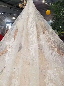Image 5 - Ls11209 웨딩 베일 높은 목 캡 슬리브와 크리스탈 웨딩 드레스 기차 bruidsjurken 투명 웨딩 드레스