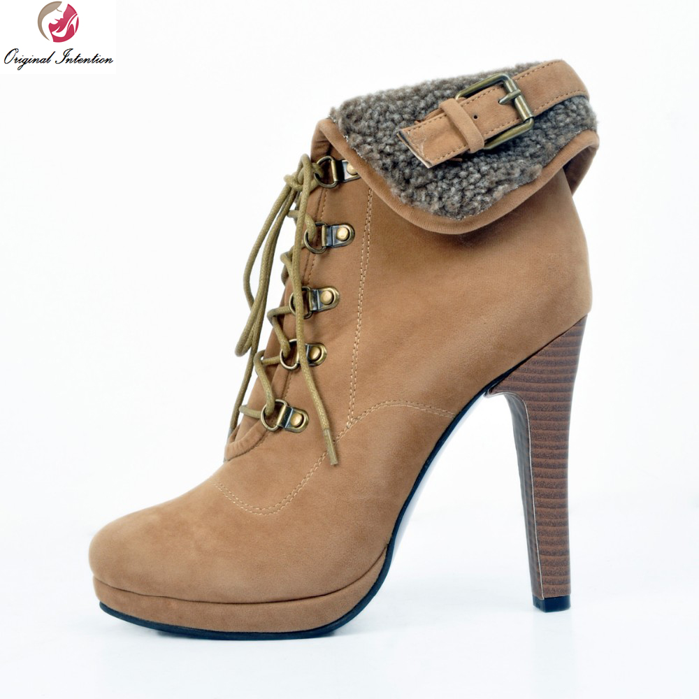 Original Intention Stylish Women Ankle Boots Nice Round Toe Spike Heels Comfortable Brown Shoes Woman Plus US Size 4-15 original intention women new fashion ankle boots platform round toe spike heels boots nice grey shoes woman plus us size 4 15