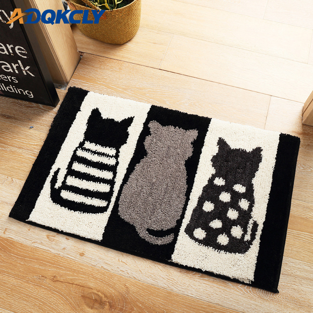 Adqkcly Softness Floor Carpet Plush Cat Pattern Fluffy Eco Friendly Area Rugs Absorbent Bathroom Door