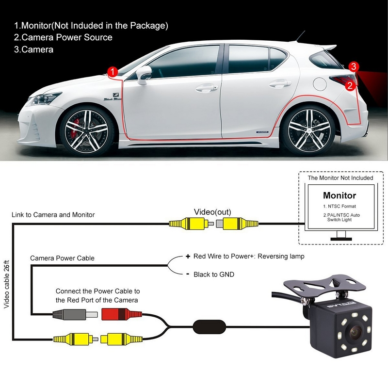Image 5 - 8 LED Lights Car Rear View Camera Night Vision 170 Degree Waterproof Car Dash Camera Auto Reverse Parking Vehicle Camera-in Vehicle Camera from Automobiles & Motorcycles