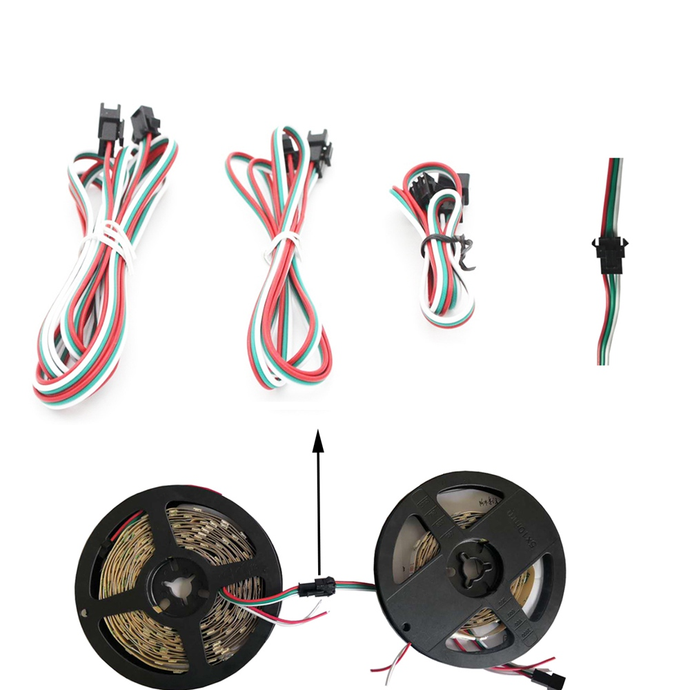 3Pin JST Connector Female&Male Led JST Connectors 22AWG Red Green And White Wires For WS2812B WS2811  RGB Led Strip