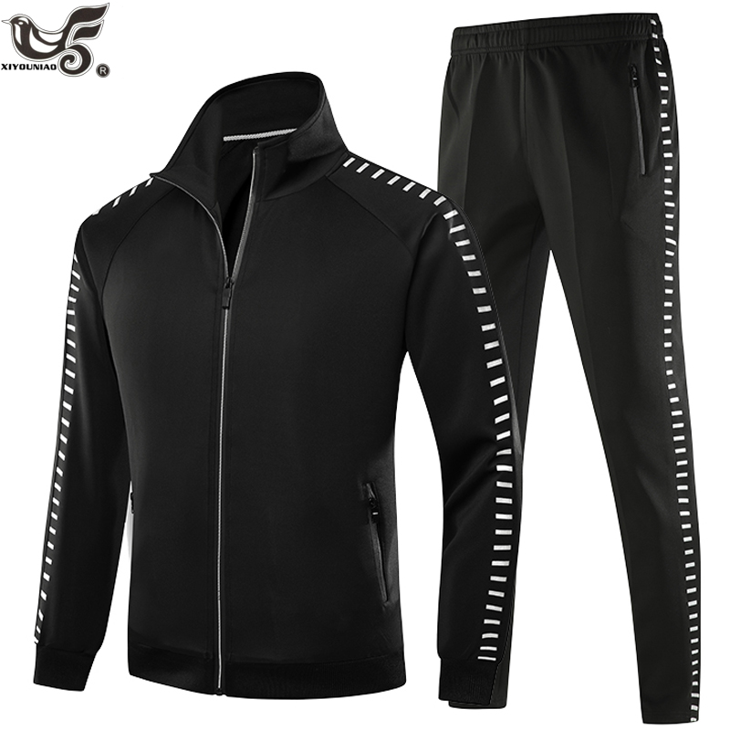 Men 2 Pics Set Fashion printed Reflective strip Men's Hoodies+Pants sportSuit Spring Sweatshirt Male Jacket Suits 1