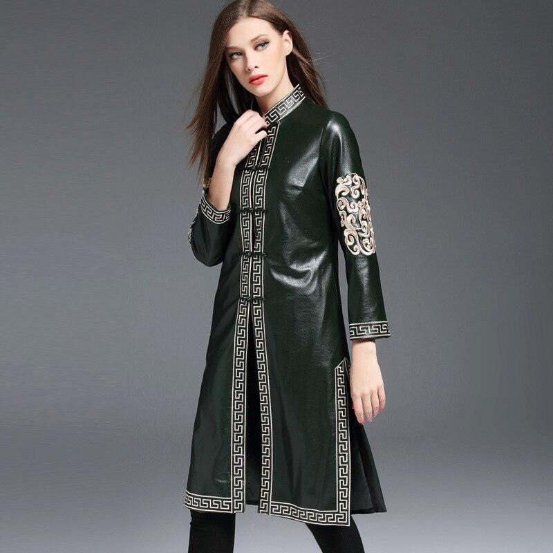 Grande Vintage coat Cheongsam Décontracté Tranchée En Col Style Taille Fleur Trench Chinois Femmes Pu Broderie Cuir Automne Montant Longue FwA6Fqxr1