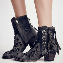 Rivet Ankle Boots Women Shoes Fringe Shoes Women Bottes Sapato Feminino Botas Mujer Femme Zapatos Spring Native Style Thick Heel
