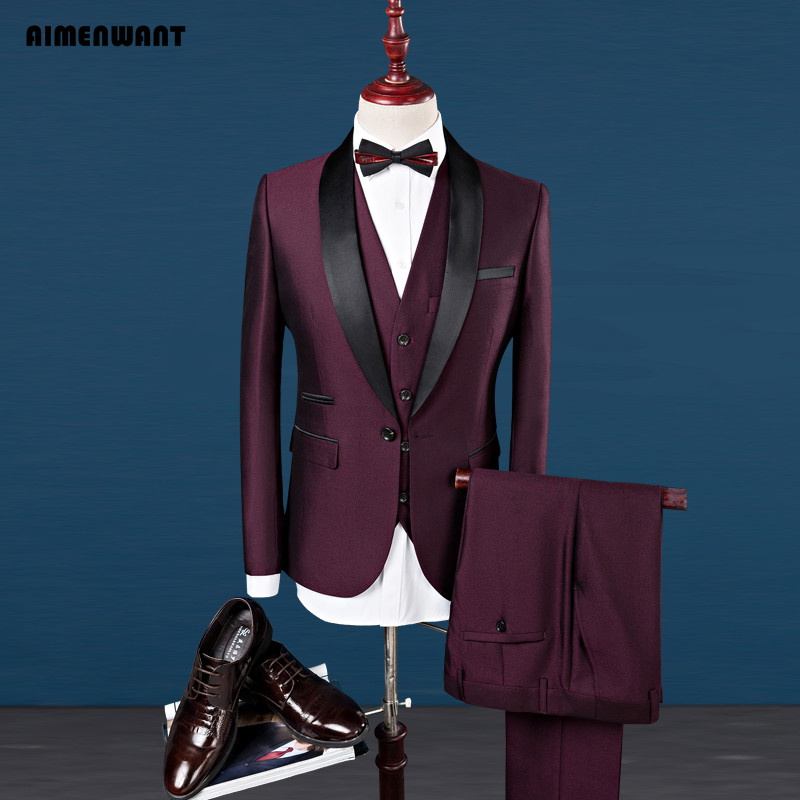 AIMENWANT S-4XL Mens Fashion Suit Wedding Wine Red Jacket+Pants+Vest 3piece Shawl Lapel Groom Wedding Tuxedos Suits Prom Blazer