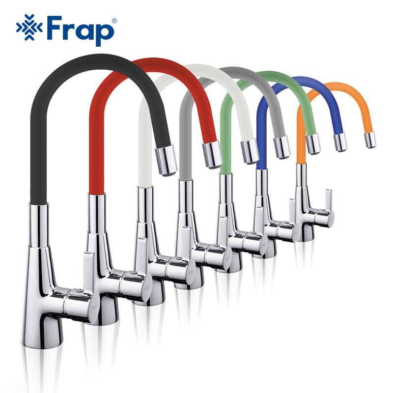 Frap Silica Gel Nose Any Direction Rotation Kitchen Faucet Cold and Hot Water Mixer with Universal