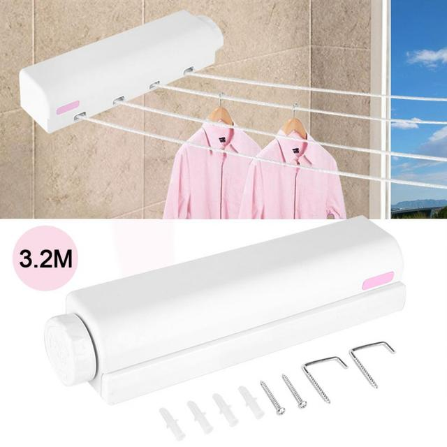 Retractable Clothes Airer Washing Line Indoor Wall Mounted Quilt