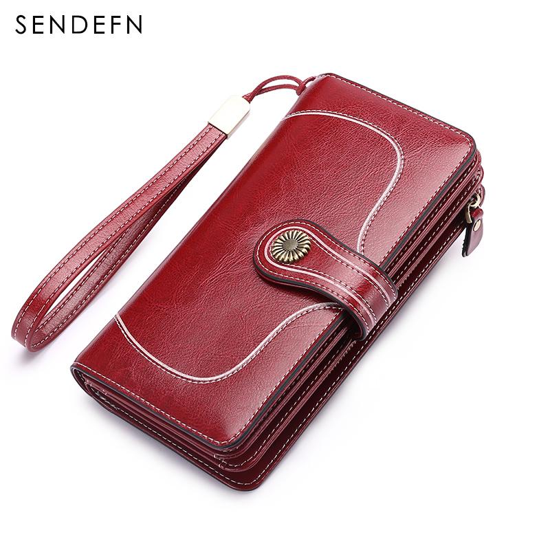 Sendefn Women Leather Purse Lady Long Wallet Woman\'s Clutch Large Capacity Wallets Split Leather Wallets Female Zipper Purses