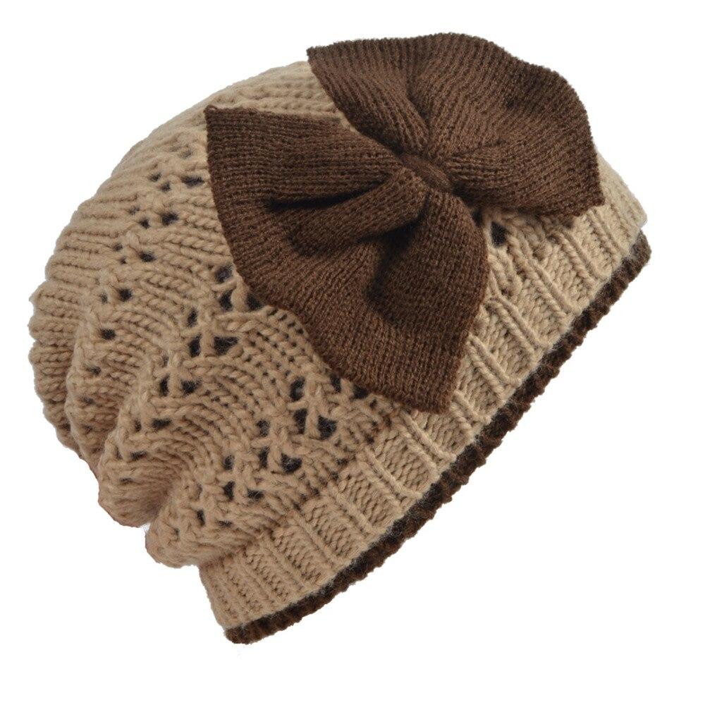 Womens Winter Chunky Knit Bow-knot Beanie Cap Fashion Double Skull Cap Ski Hat HISSHE hot winter beanie knit crochet ski hat plicate baggy oversized slouch unisex cap