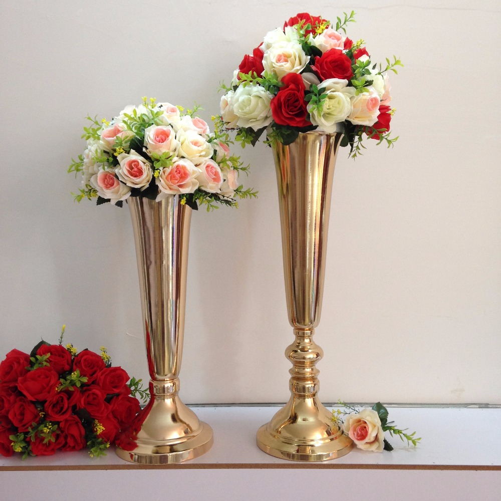 10pcs lot gold wedding table centerpiece 49cm 19 3inch tall wedding party road lead table flower vase wedding decoration in vases from home garden on