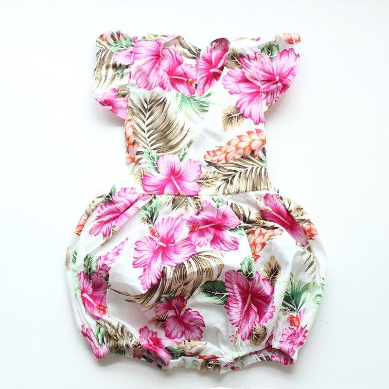 Baby Girls Romper 2018 Summer V-neck Sleeveless Cotton Romper Print Flower Newborn Baby Girl Clothes Headband