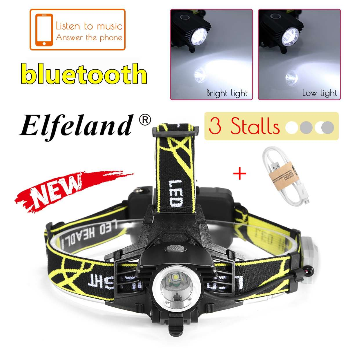 Aluminum alloy LED headlight with bluetooth and headphone jack Multi-function head-mounted waterproof outdoor lighting