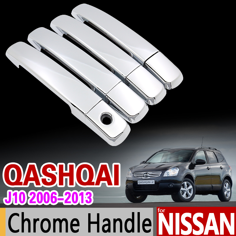 for Nissan Qashqai J10 2006 - 2013 Chrome Handle Cover Trim Dualis 2007 2008 2009 2010 2011 2012 Accessories Sticker Car Styling for nissan x trail 2008 2009 2010 2011 2012 2013 retractable rear cargo cover trunk shade security cover black auto accesaries