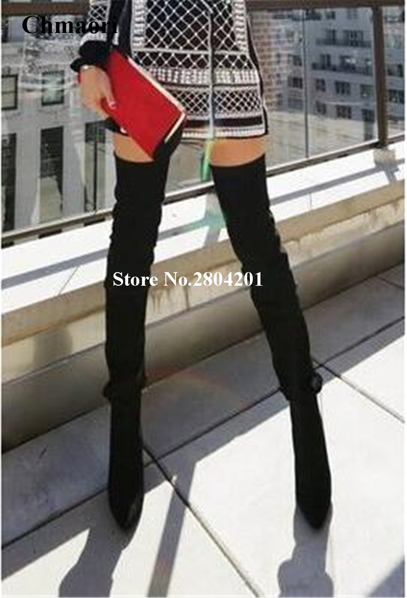 Sexy Fashion Women Boots Super High Over The Knee Thigh High Boots Solid Pointed Toe Thin High Heels Long Boots With Zipper spring women new rivets solid black super high thin heels high platform round toe gladiator over the knee boots free shipping