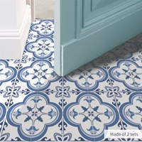 Yanqiao Blue and White Porcelain Floor Sticker Nordic Style Kitchen Waterproof Mural Decor Self Adhesive Peel and Stick