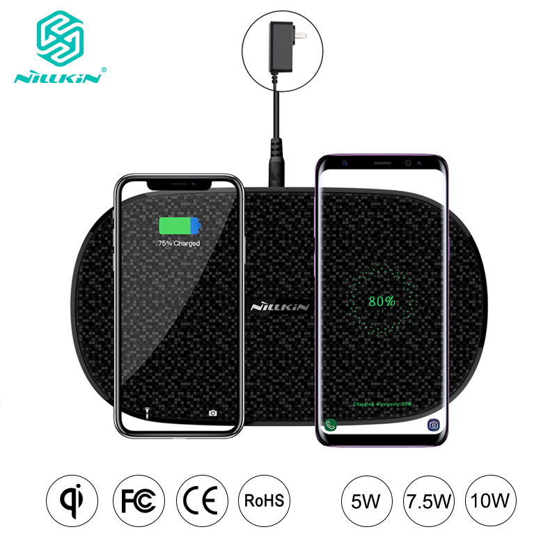 NILLKIN Fast Dual Wireless Charger for iPhone XS Max Xr X 8 Qi Pad for Samsung Galaxy S9 S8 S7 for Xiaomi Mix 2S 10W 7.5W 5W