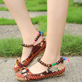 2017 Women Casual Shoes Woman Flats Floral Handmade Beaded Ankle Straps Loafers Zapatos Mujer Retro Ethnic Embroidered Shoes