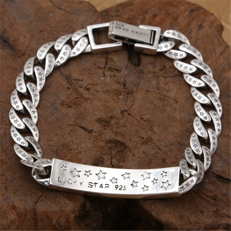 Fashion Star Solid Silver 925 ID Chain Bracelet For Men Heavy Link Bracelet 100% Real 925 Sterling Silver Cool Men Jewelry Gifts