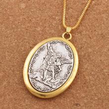Catholic Patron Saint Pendant Michael St. the Archangel 2inch Necklace 24 Chain N1779 10PCS