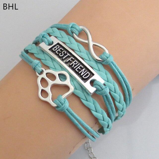 Draop Shipping Dog Gift Infinity Paw Bracelet Handmade Multilayer Bear Bracelets Charm Animal