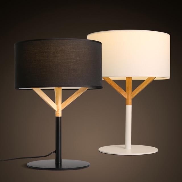 Mode Nordique Tissu Art En Bois Lampe De Chevet Contemporain