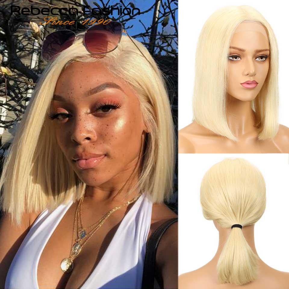 Rebecca Short Lace Front Human Hair Wigs Honey Blonde 613 Human Hair Lace Frontal Wig Brazilian Hair Bob Wig For Women Free Ship