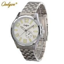 Onlyou Marca Relojes Hombres de Negocios Vestido Reloj de Cuarzo Correa de Acero Inoxidable Negro Reloj Luminoso Relogio masculino 81050