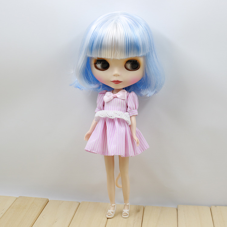 Free shipping Doll Blyth Nude Blue and White Short Hair Dolls For Girls free shipping bjd joint rbl 415j diy nude blyth doll birthday gift for girl 4 colour big eyes dolls with beautiful hair cute toy