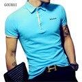 2017 nova mens marcas camisa polo masculina manga curta de algodão de moda casual homens camisas polos magros plus size m-xxxl respirável