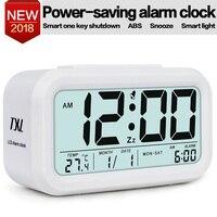 TXL LCD Digital Alarm Clock Snooze Electronic Travel Clock Light Sensor Desk Clock TEMP Date Calendar