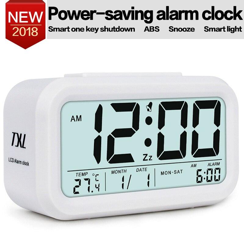 Estudiante Despertador Reloj Gran Pantalla LCD Digital Snooze Electronic Kids Reloj Sensor de Luz Nightlight Oficina Reloj De Mesa