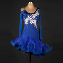 Latin Dance Dresses Women New Royal Blue Professional Dancing Costume Adult Rumba Sumba Chacha Competition Skirt